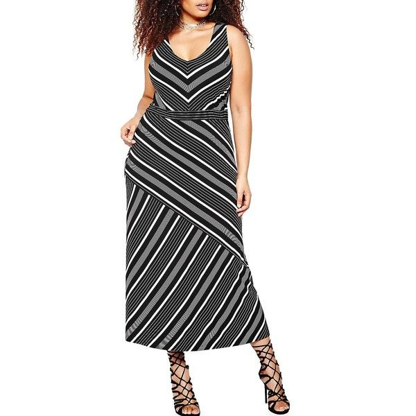 Addition Elle Michel Studio Women's Striped Sleeveless Dress ($95) ❤ liked on Polyvore featuring plus size women's fashion, plus size clothing, plus size dresses, black, v neck dress, print dresses, stripe dresses, striped sleeveless dress and lining sleeveless dress