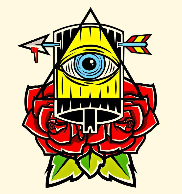rosa , tradicional , tatto , neotradicional , ny cap , ny fat , graffiti , arrow , traditional tatto , iluminati , ojo , piramide , simetria