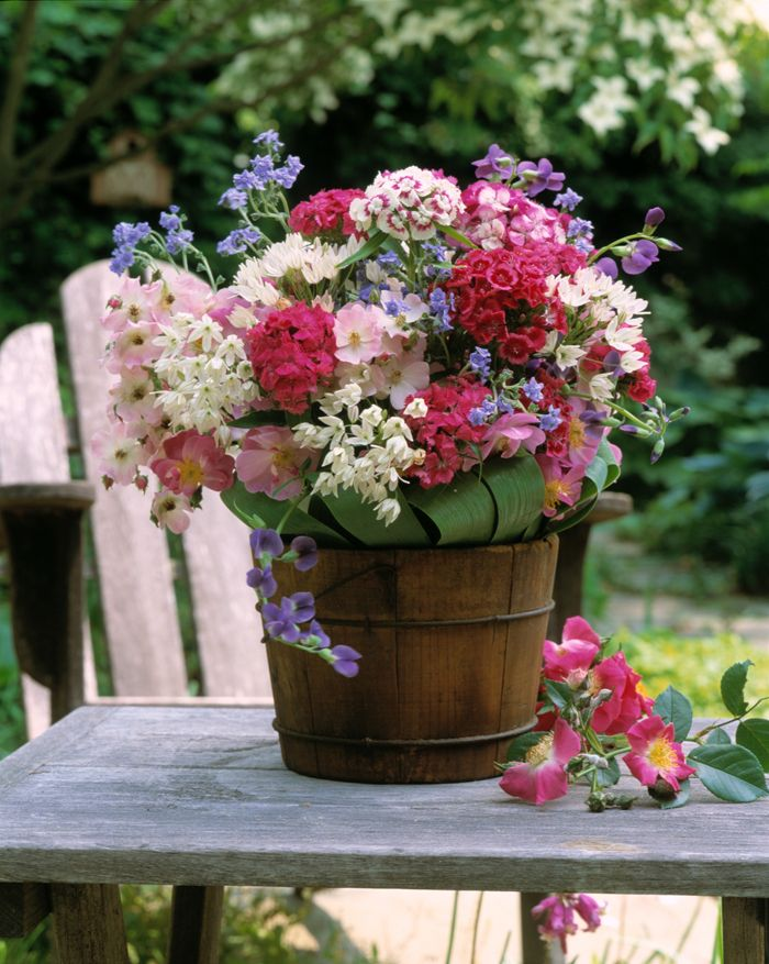 country flower arrangement ~~~way to use our old ice cream bucket~~~