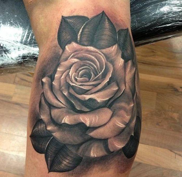 black rose tattoo design for men the image kid has it. Black Bedroom Furniture Sets. Home Design Ideas