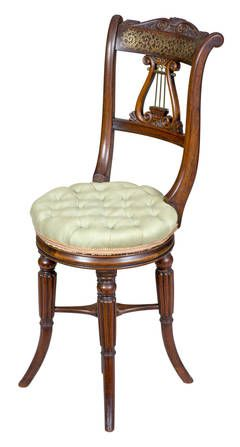 Rosewood Classical Piano Stool or Dressing Table Seat,  England, circa 1820