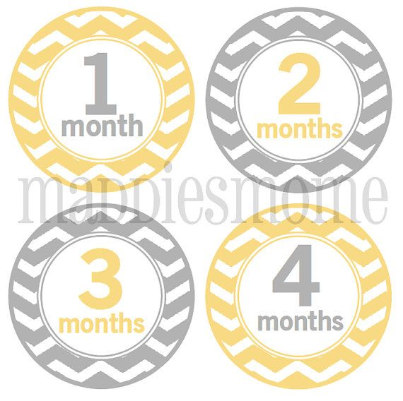 Monthly Baby Stickers, Milestone Stickers, Baby Month Stickers, Monthly Bodysuit Sticker, Monthly Stickers Yellow Gray (Neutral Chevron) on Etsy, $8.99