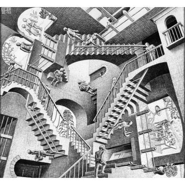 """Maurits Cornelis Escher fue un artista holandés. Se considera uno de los padres de la ilusión óptica. Esta imagen es una de sus obras más famosas, llamada """"Relatividad"""" y basada en la distorsión de la fuerza de gravedad, donde se perciben varios mundos a la vez pero regidos por diferentes ejes. Como puede verse en esta obra, en los trabajos de Escher conviven simultáneamente conceptos antagónicos como arriba-abajo o dentro-fuera."""