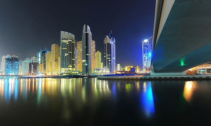 A photograph taken under one of the bridges in Dubai Marina; a large residential and commercial complex in Dubai.