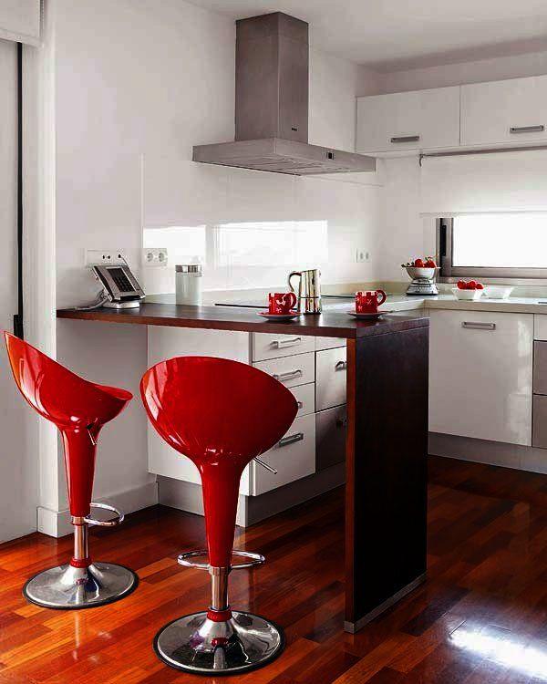 12 barras para desayunos y sus planos de cocina ideas for Cocinas modernas pequenas para apartamentos con desayunador