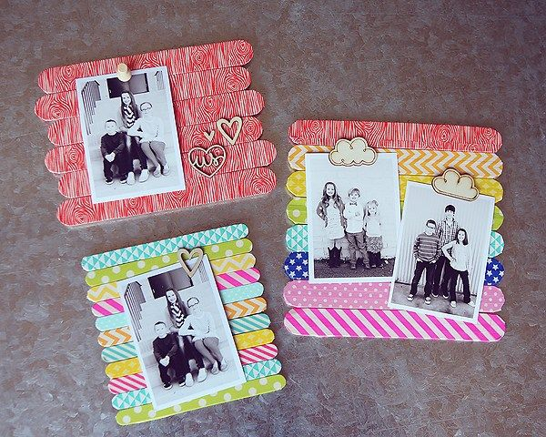 DIY Popsicle Stick Frames | Creative DIY Mother's Day Gifts Ideas | Thoughtful Homemade Gifts for Mom. Handmade Ideas from Daughter, Son, Kids, Teens | Unique, Easy, Cheap Do It Yourself Crafts To Make for Mothers Day, complete with tutorials and instructions http://thrillbites.com/diy-mothers-day-gift-ideas