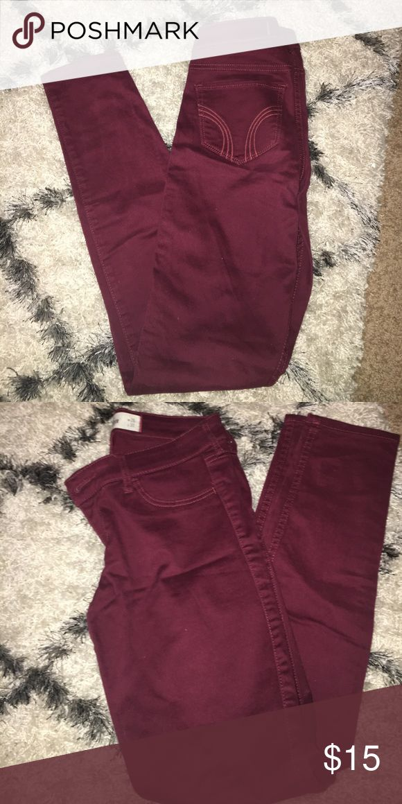 Maroon skinny jeans Only worn one time! Hollister Jeans Skinny