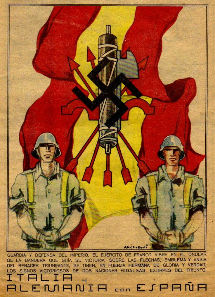 Franchism propaganda. Falangists, National Socialists and Fascists alliance