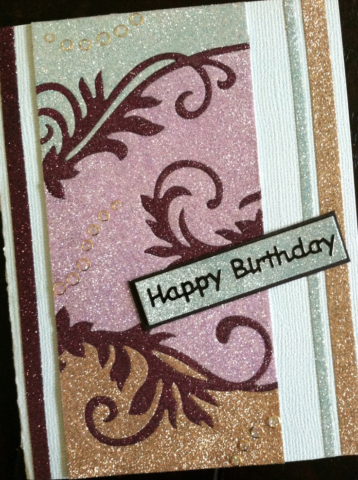 With this picture I wanted to show you that the Be Creative tape is not just a perfect adhesive but you can also use it for glitter borders. On this card I used the 3mm, 5mm and 7mm. The technique on this card is the Burnished Velvet. The colors I used are from the Limited Editions Style King and Simply Pastels and the dark color is the Garnet nr 81.  The die I used for the swirls is a Spellbinders die Floral Flourishes nr S4-327