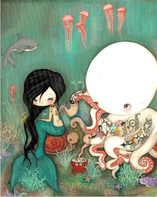 Octopus Print Tattooed Girl Mermaid Nautical от thepoppytree
