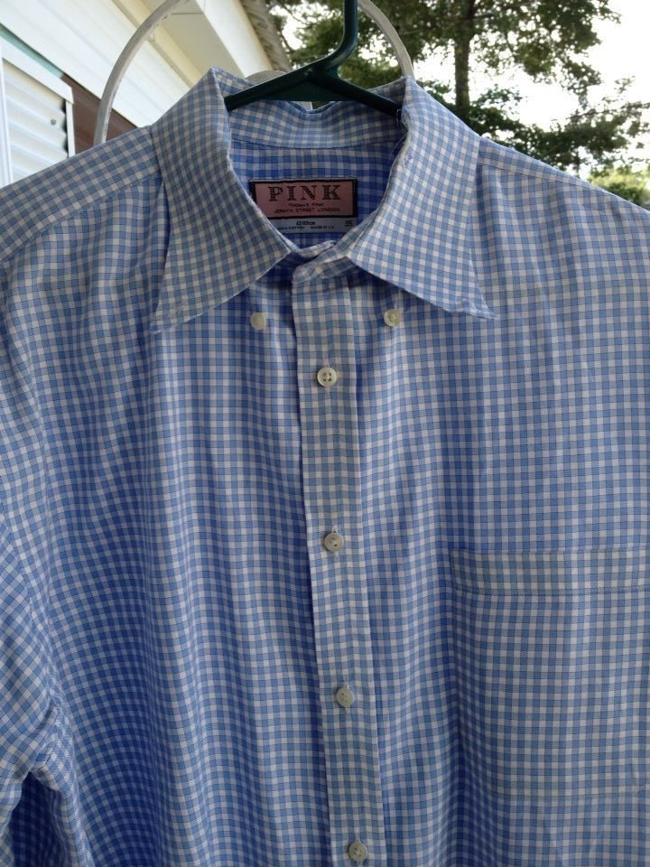 Men's PINK THOMAS PINK dress shirt 16 1/2 35 100% cotton blue and white check  #ThomasPink #MensDress
