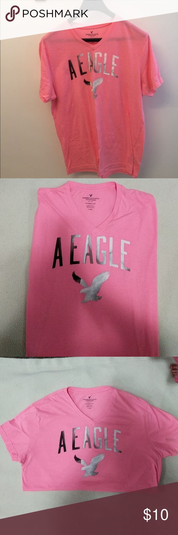 American Eagle Shirt NWOT Bright Pick American Eagle classic fit v-neck shirt, NWOT. American Eagle Outfitters Shirts Tees - Short Sleeve