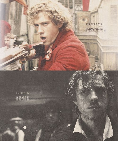 Enjolras - I'm 99% certain the dude was in love with Eponine, which breaks my heart because the way I look at it, when he's telling Marius that their little lives don't count at all, he was just reminding himself once again why the revolution was more important then his heart.