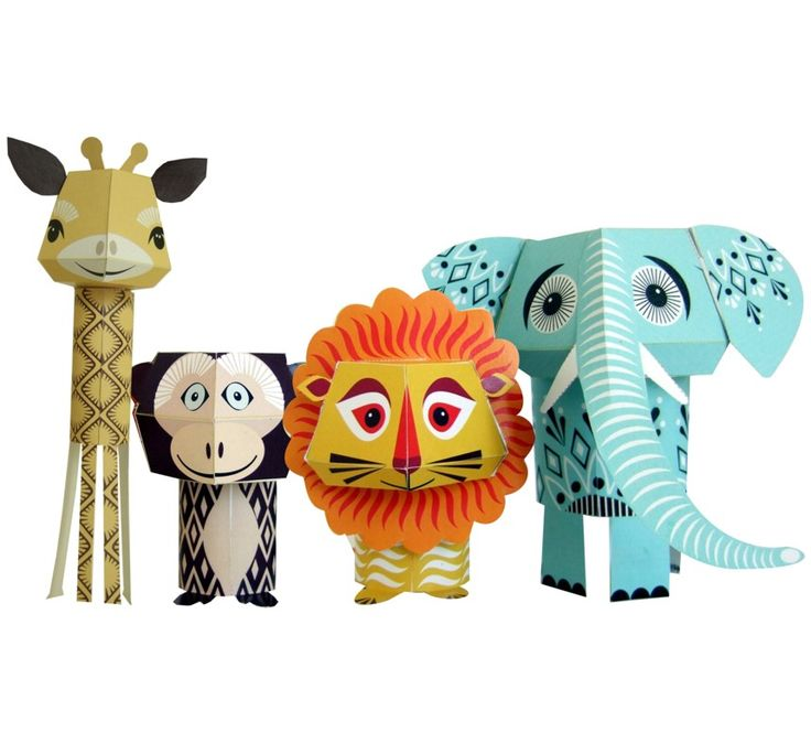 These are adorable. I like the patterns on the elephant.  From www.mibo.co.uk: Cardboard Animal, Paper Animal