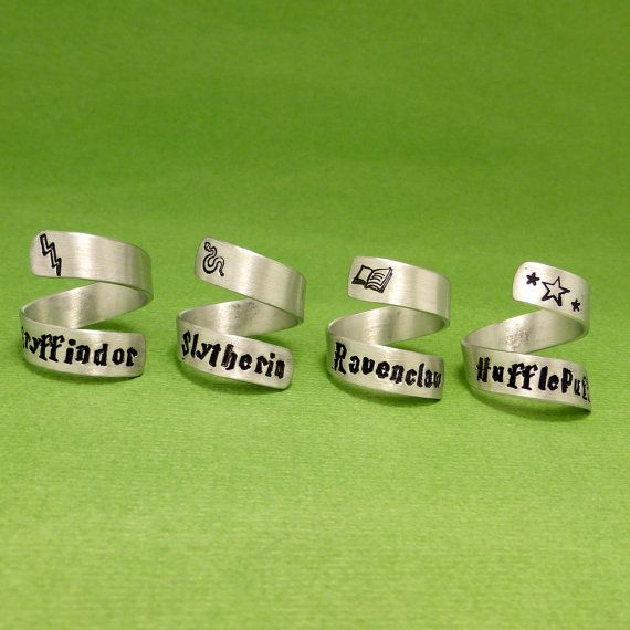 Harry Potter Inspired - Gryffindor, Slytherin, Ravenclaw, or Hufflepuff - Choose ONE Hand Stamped Aluminum Wrap Ring