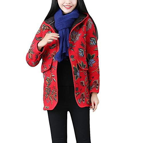 5a8939be114 DEATU New Womens Vintage Coats Ladies Winter Warm Outwear Chic Pattern  Hoodies Retro Oversize Coats Multiple Style (k-Red