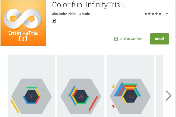 https://play.google.com/store/apps/details?id=eu.getyouracttogether.infinitytris_ii              Color fun: InfinityTris II      Color rotation play is made awesome with this game. Get ready for the next evolution in multi-direction puzzle games! You have to race against time and prevent the blocks from stacking up!