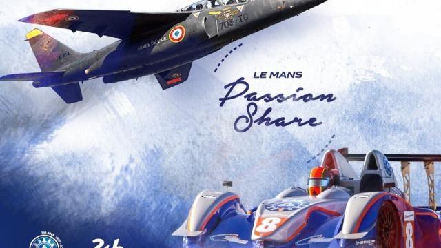 """L'affiche du défi """"le Mans Passion Share"""": un échange d'expériences extrêmes entre instructeurs pilotes de chasse et instructeurs pilotes de course."""