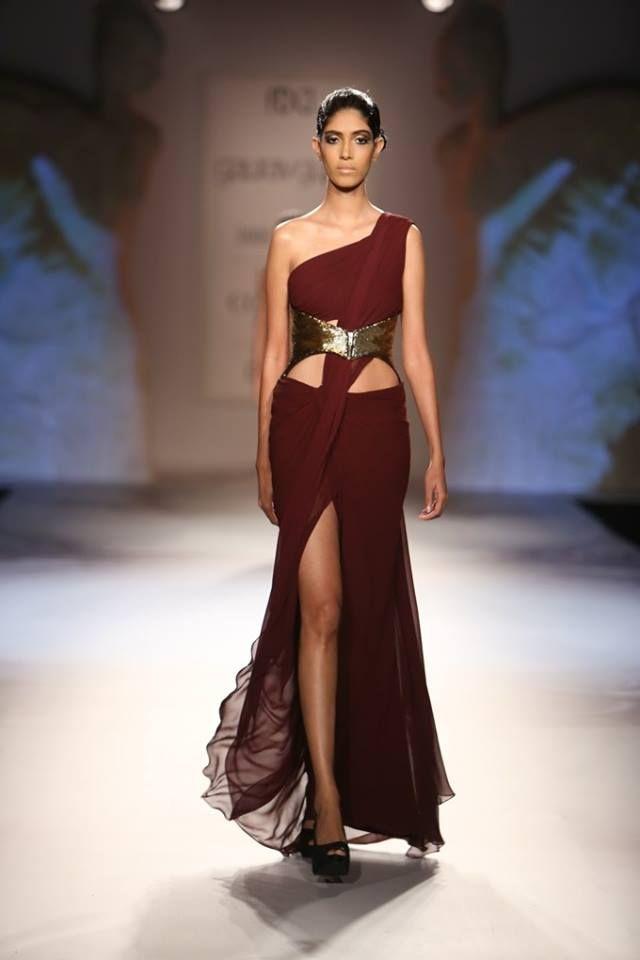 Gaurav Gupta at India Couture Week 2014 - deep red burgundy cutout Indian dress