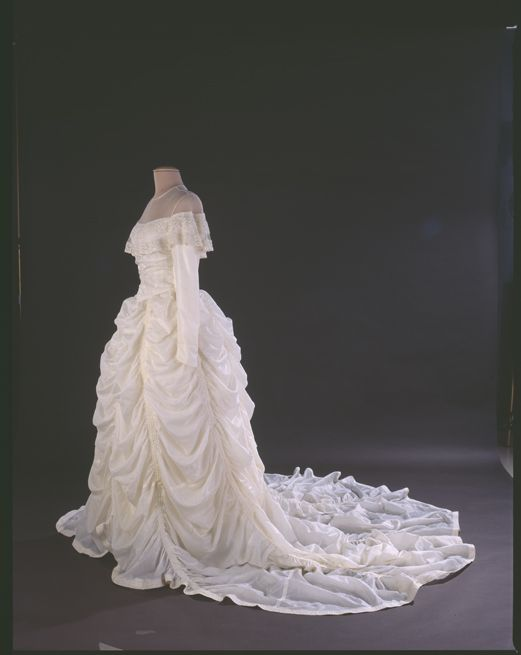 Parachute wedding dress, currently in the Smithsonian. From their website: In August 1944, Hensinger, a B-29 pilot, and his crew were returning from a bombing raid when their engine caught fire. After bailing out of the plane, Hensinger used the parachute as a pillow and blanket as he waited to be rescued. He later proposed to his girlfriend Ruth in 1947, offering her the material for a gown.