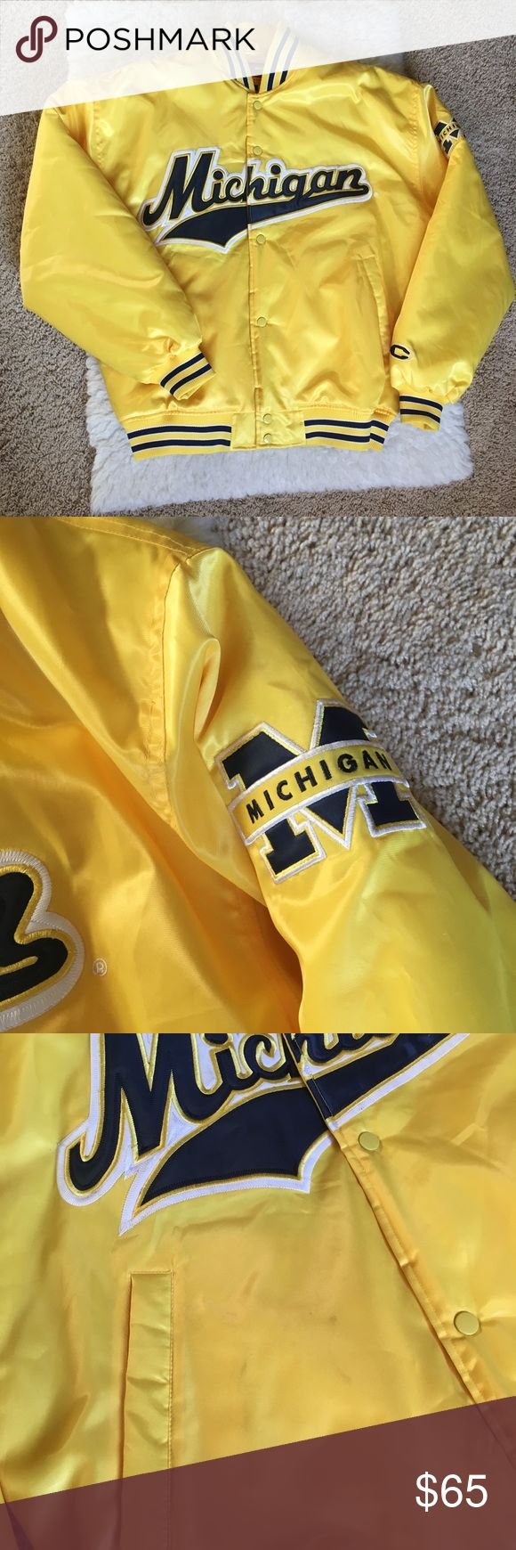 "Michigan Wolverines Football Jacket Michigan Wolverines Football Jacket Size Large Color: Yellow Style: Bomber / Varsity Brand: Colosseum Sportswear Says ""Michigan"" on the sleeve Colosseum Jackets & Coats Bomber & Varsity"