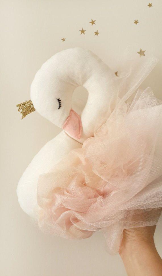Almohada de vivero decoración del cisne cisne de peluche de