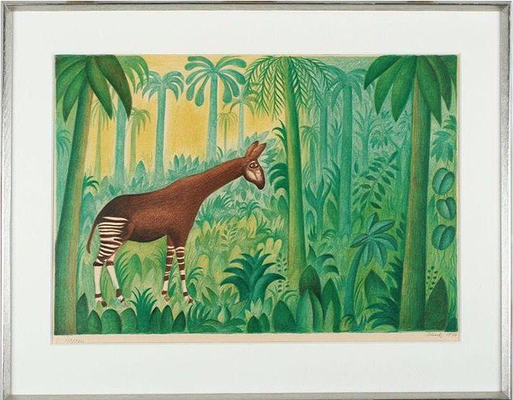 Hans Scherfig  Djungellandskap med okapi