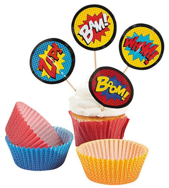 Serve up your favorite super treats with this assorted Superhero cupcake kit that includes standard cupcake baking cups in red, blue, and yellow and pick topper
