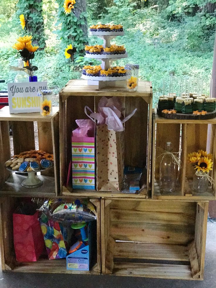 Wooden display crates from SPROUTS grocery | Blue Gingham & Sunflower garden party. You are my sunshine party theme