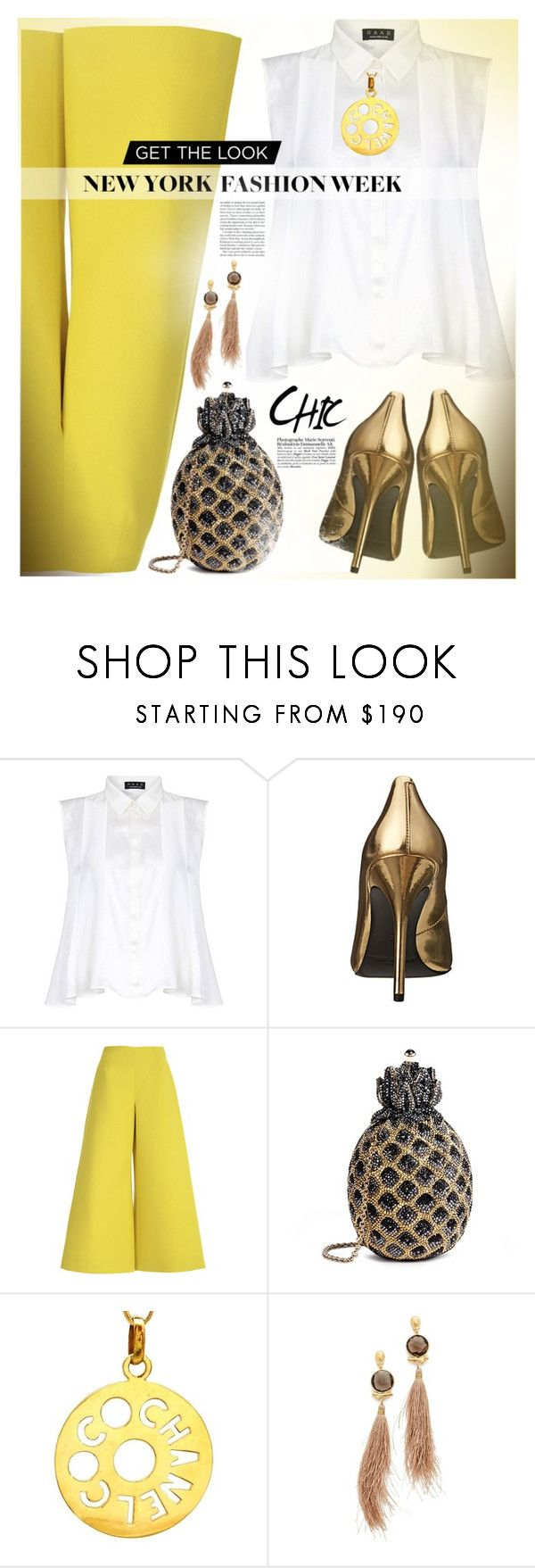 """""""#nyfw"""" by liligwada ❤ liked on Polyvore featuring Pierre Balmain, Delpozo, Judith Leiber, Chanel and Gas Bijoux"""