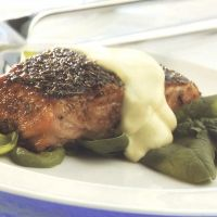 Seared Salmon With Quick Hollandaise Sauce Recipe. I would use packaged hollandaise sauce, but that is because I am lazy