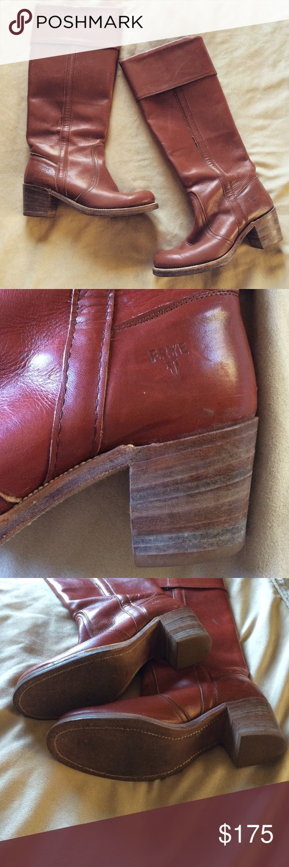 Vintage 1980's Frye Riding Boots My mom purchased them in the 1980's, and they retailed for $300. While they are still in great condition, they are vintage and therefore have a few marks. They are a brick red/brown color. Size 8, but run a little small. Frye Shoes Heeled Boots