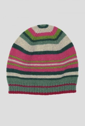 Juicy Hat | Beanie style hat in soft lambswool and a juicy stripey knit. In versatile colours, with contrast rib knit hem. A lovely splash of colour on a cold day.