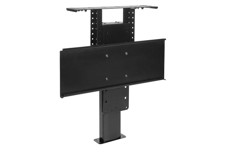 Pop up tv lift can embed tv in foot of bed in a cabinet for Motorized tv mount cabinet