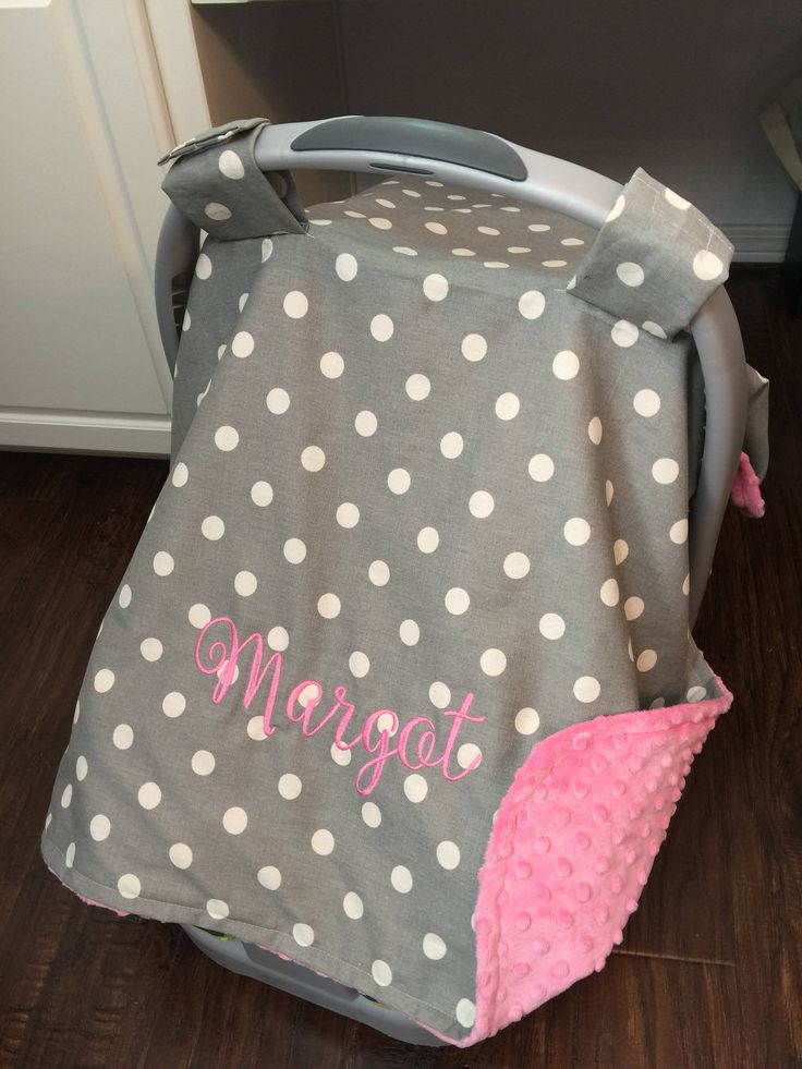 81 best baby gifts images on pinterest monogram carseat canopy for girls carrier cover personalized baby polk dot grey gray pink negle Gallery