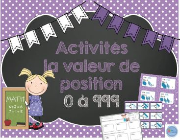 French place value activities/ Ensemble d'activités sur la valeur de position de 20 pages