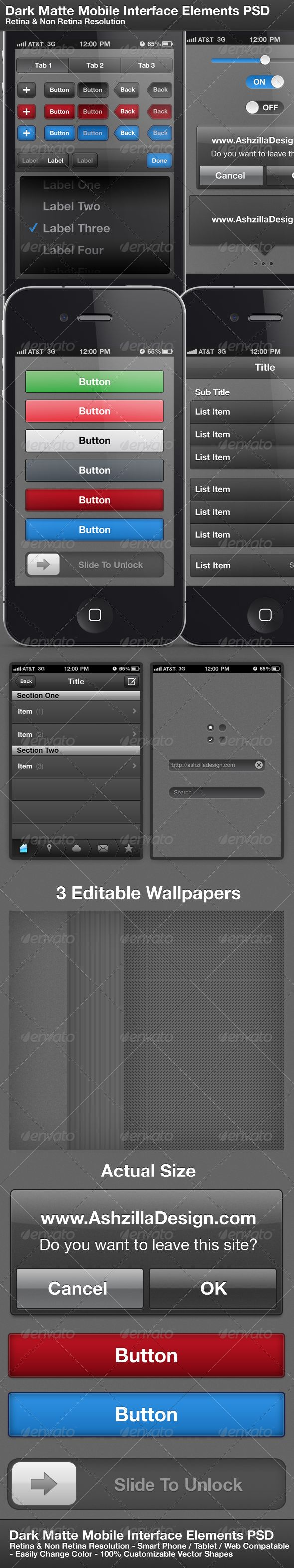 Dark Matte Mobile Interface Elements PSD  #GraphicRiver         This retina display ready high resolution PSD is very customisable and well organised. Perfect for Mobile devices or websites.   	 Dark Matte Mobile Interface Elements PSD    - PSD file (Compatible with CS3 , CS4 & CS5 ) - Professional & Clean Design - Easily change color of Elements - Fully customisable vector shapes - Organised layers - Optimised for mobile use but also great for websites - Two resolutions included: Normal…