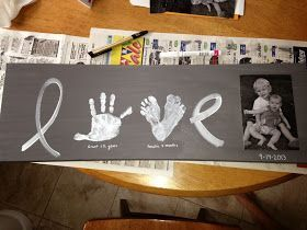 I saw a great idea... on Pinterest of course for a painted picture using the kids' foot and handprints. I modified the idea slightly and...
