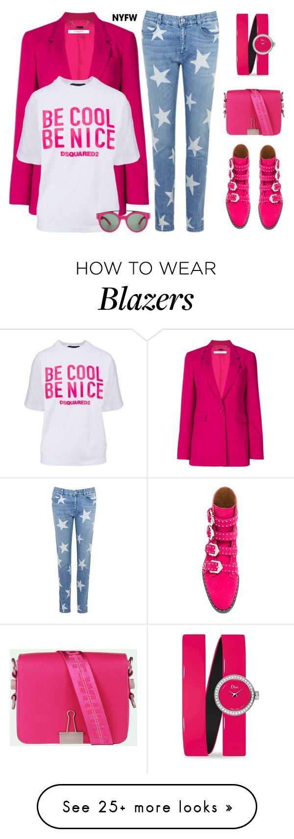"""""""#NYFWHotPink #ContestEntry"""" by fainasanders on Polyvore featuring Givenchy, Dsquared2, STELLA McCARTNEY, Christian Dior, contestentry and NYFWHotPink"""