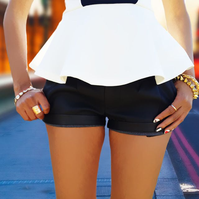 Fashion Blog Post : Monochrome Outfit Series: @mrpfashion Geometric Peplum Top and @edgarsfashion  Leather Shorts - See more at: http://angellavie.blogspot.com/2013/08/monochrome-outfit-series-geometric.html#sthash.Y8h4WPMZ.dpuf