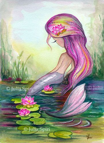 "Available Original Painting ""Mermaid and Lotus""Watercolor on paper.Size: 8.2 x 11.5 inches (21cm x 29cm)"