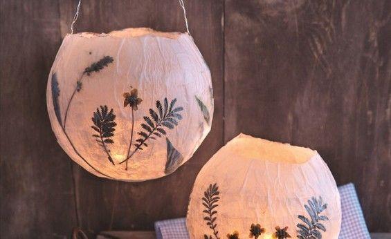 DIY: Lampion met gedroogde bloemen en bladeren