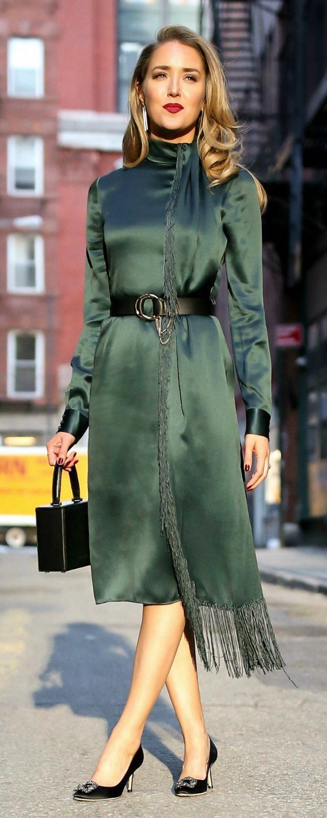 a13b62db937 The One Accessory I Cannot Live Without    Emerald Green long sleeve midi  dress with fringe detail