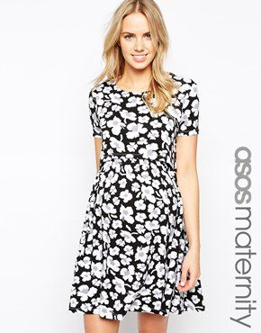 ASOS Maternity NURSING Skater Dress With Double Layer In Mono Floral Print