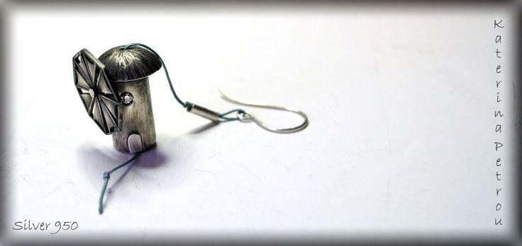 Windmill Earring, Silver 950 https://www.facebook.com/katpetrou.jewellery