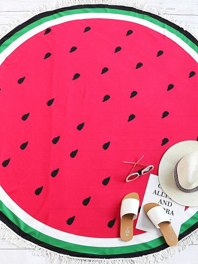 Red Watermelon Print Fringe Trim Round Beach Blanket