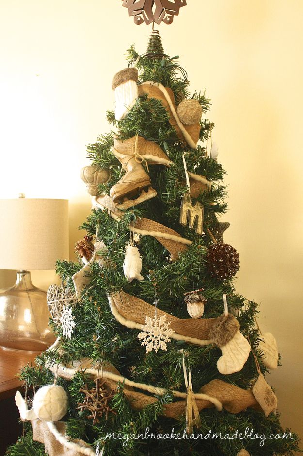 The 590 best images about christmas rustic on pinterest for Decorating with burlap ribbon for christmas
