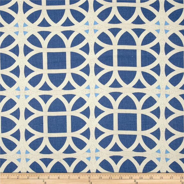 Waverly Williamsburg Lamerie Lattice Linen Sapphire from @fabricdotcom  Screen-printed on 100% linen, this versatile medium/heavyweight fabric is perfect for window treatments (draperies, valances, curtains and swags), toss pillows, duvet covers, pillow shams, slipcovers and upholstery. Colors include grey, ivory and shades of blue. This fabric has 24,000 double rubs.