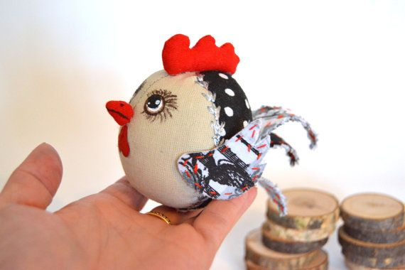 Rooster textile Symbol 2017 year Toy by gechashop on Etsy