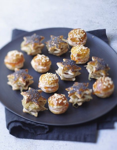 Party canapes - bake shapes of puff pastry - sandwich with whatever savoury fillings you fancy. - Elle